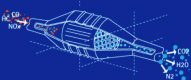 Schéma d'un pot catalytique (Rhodia)