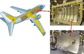 Pièces métalliques livrées par Constellium (panneau de fuselage) qui constituent la structure extérieure d'un avion. DR