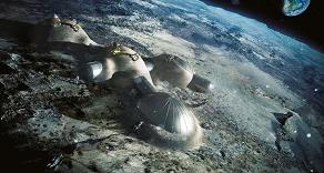 Simulation futuriste de l'aspect que pourrait avoir une base lunaire. Le projet de base lunaire est le seul objectif réalisable à moyen terme. Source : ESA.