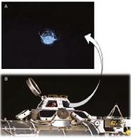 A) Les micrométéorites sont un danger pour les instruments envoyés dans l'espace. On voit ici un impact de 7 mm dû à une écaille de peinture sur un hublot de l'ISS (Station spatiale internationale). Cela a failli casser le hublot, bien qu'il soit épais de 4 cm ; B) la coupole de l'ISS possède des volets très robustes pour prévenir les problèmes dus aux impacts avec des micrométéorites. Source : NASA.