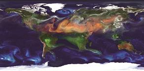 Modèle global des aérosols à la surface de la Terre.