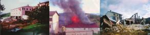 Le hangar agricole, avant, pendant et après un incendie suivi d'une explosion