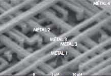 Vue de dessus des nombreuses interconnexions au sein d'un transistor au MEB. Source : CEA-LETI.
