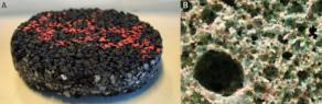 Exemple de matériaux granulaires : béton bitumineux (A), granulat issu de recyclage (B). Source : Matelys