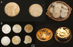Standardisation de la fabrication du blanc de plomb sous forme de pastilles. A) Cimetière du Céramique, Athènes, tombe 24 ; B) pyxide tripode, musée national d'Athènes.