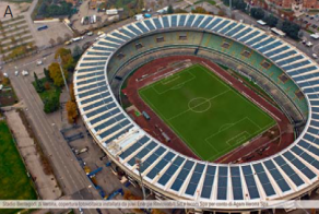 Intégration de cellules photovoltaïques couches minces sur verre dans un stade de football (A : Stade Marcantonio-Bentegodi à Vérone, Italie).